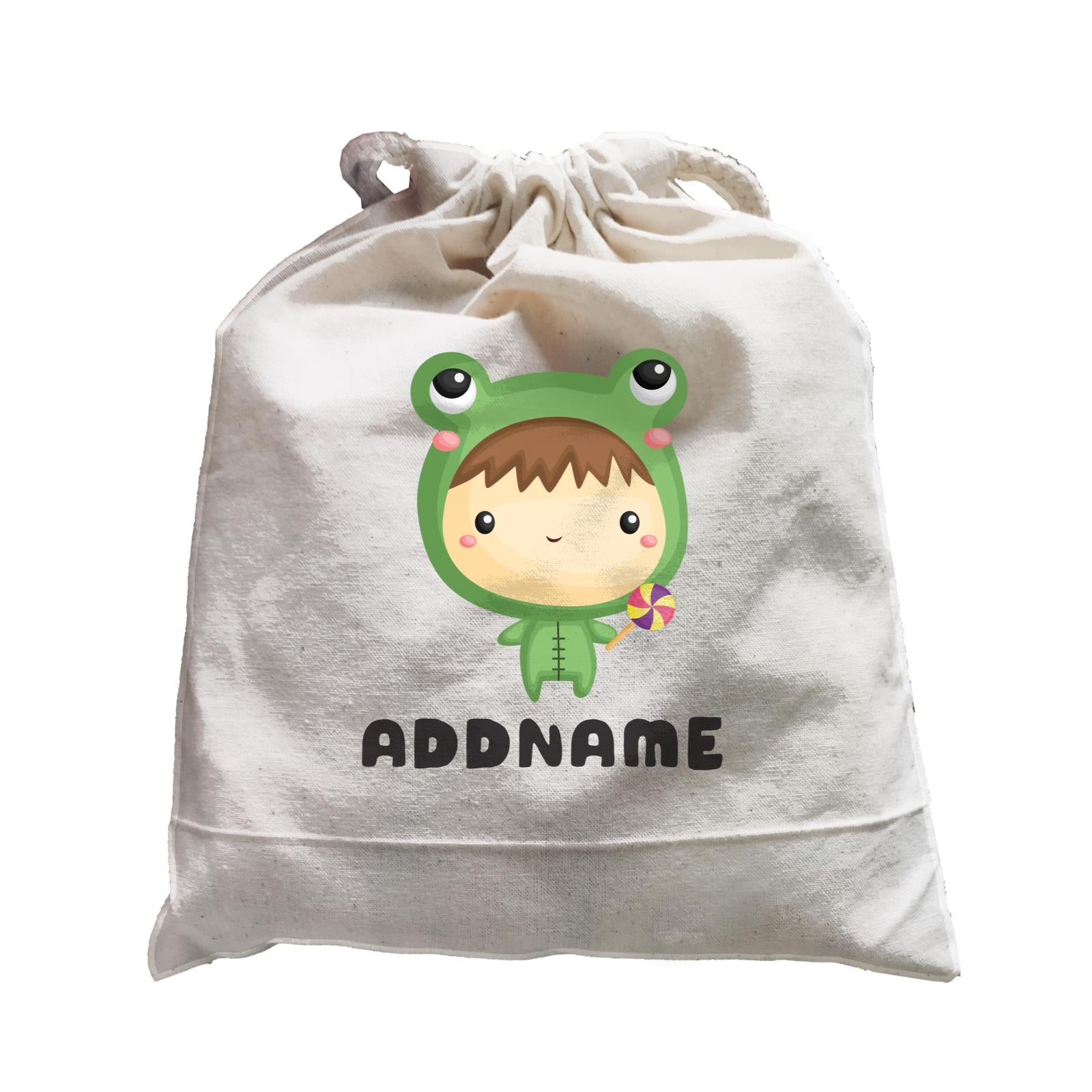 Birthday Frog Baby Boy Wearing Frog Suit Holding Lolipop Addname Satchel