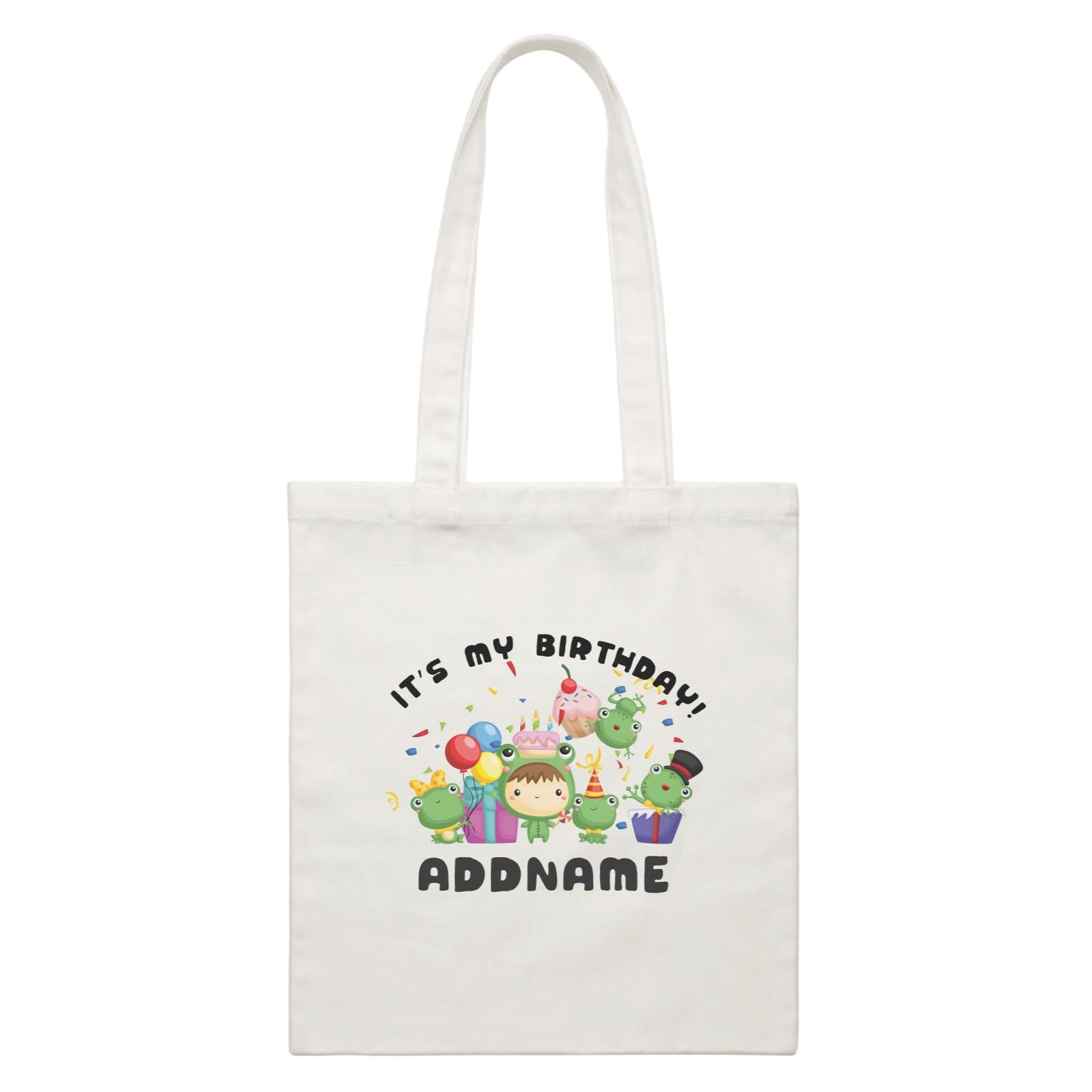 Birthday Frog Happy Frog Group It's My Birthday Addname White Canvas Bag