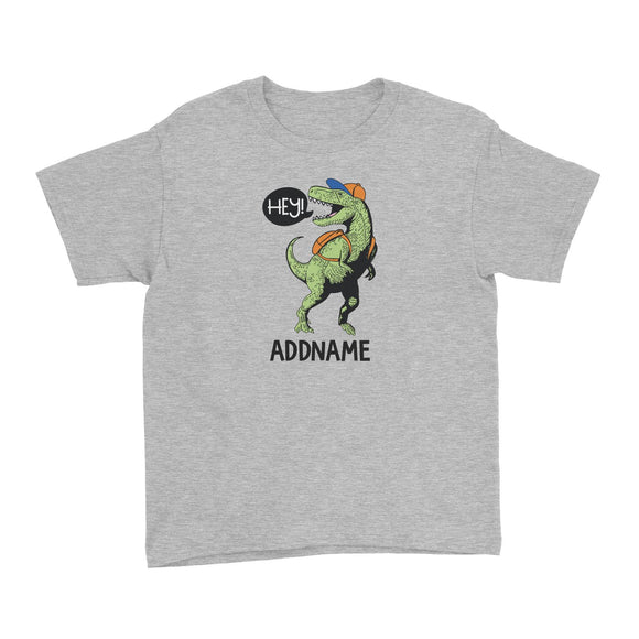 Cool Vibrant Series Hey Dinosaur With Back Pack Addname Kid's T-Shirt