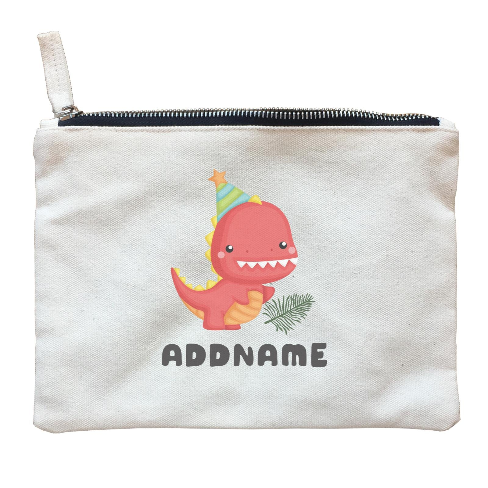 Birthday Dinosaur Happy Red Rex Wearing Party Hat Addname Zipper Pouch