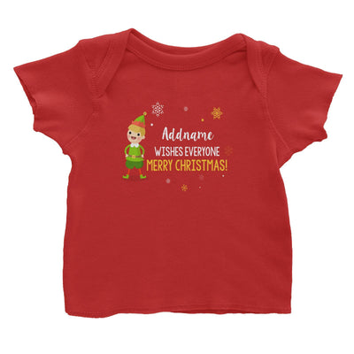 Cute Elf Boy Wishes Everyone Merry Christmas Addname Baby T-Shirt  Matching Family Personalizable Designs