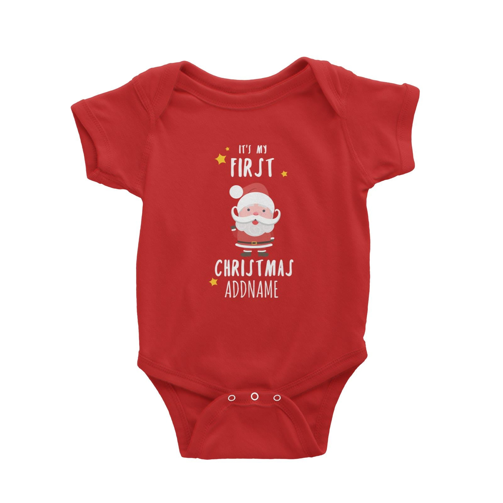 Cute Santa First Christmas Addname Baby Romper  Personalizable Designs