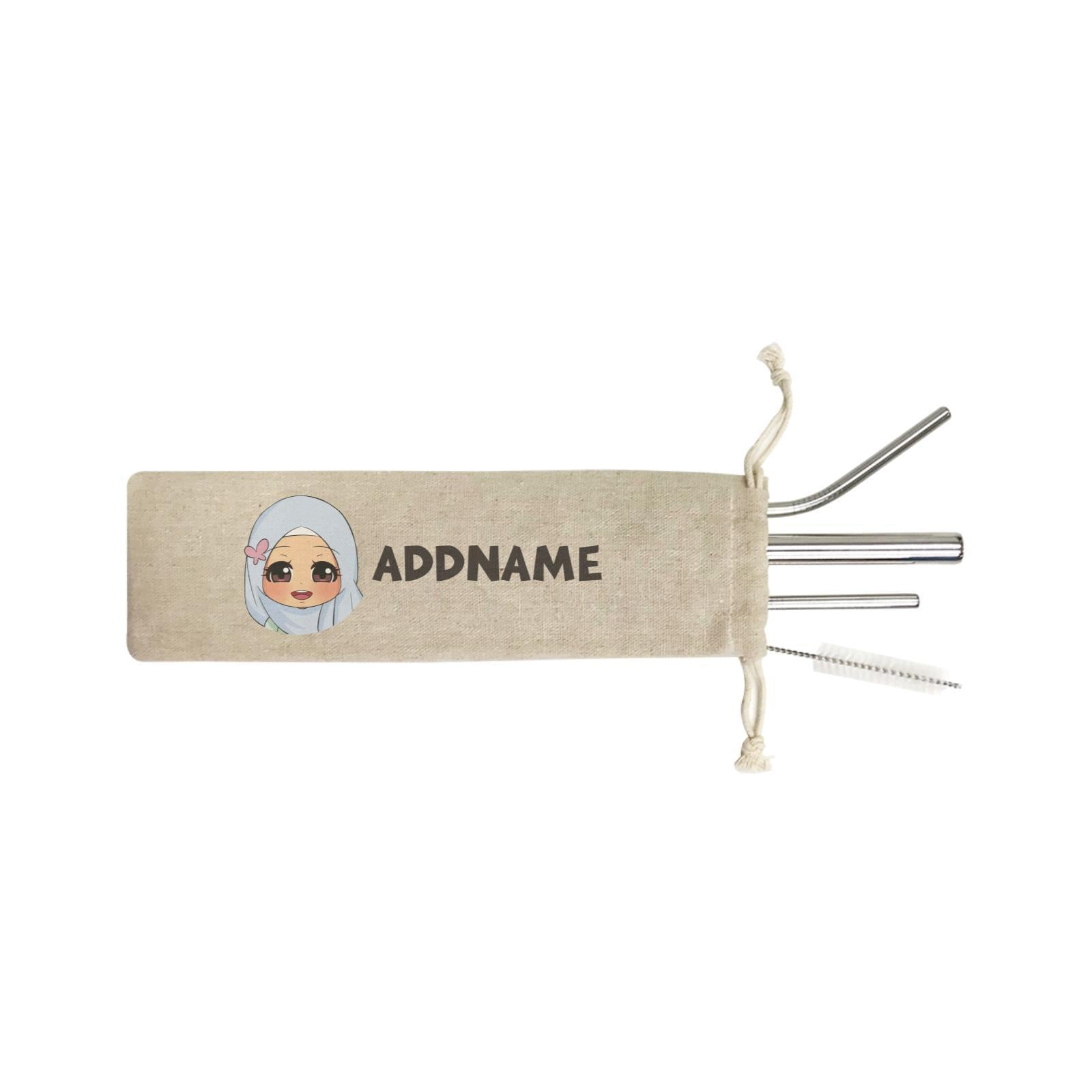 Children's Day Gift Series Little Malay Girl Addname SB 4-in-1 Stainless Steel Straw Set In a Satchel