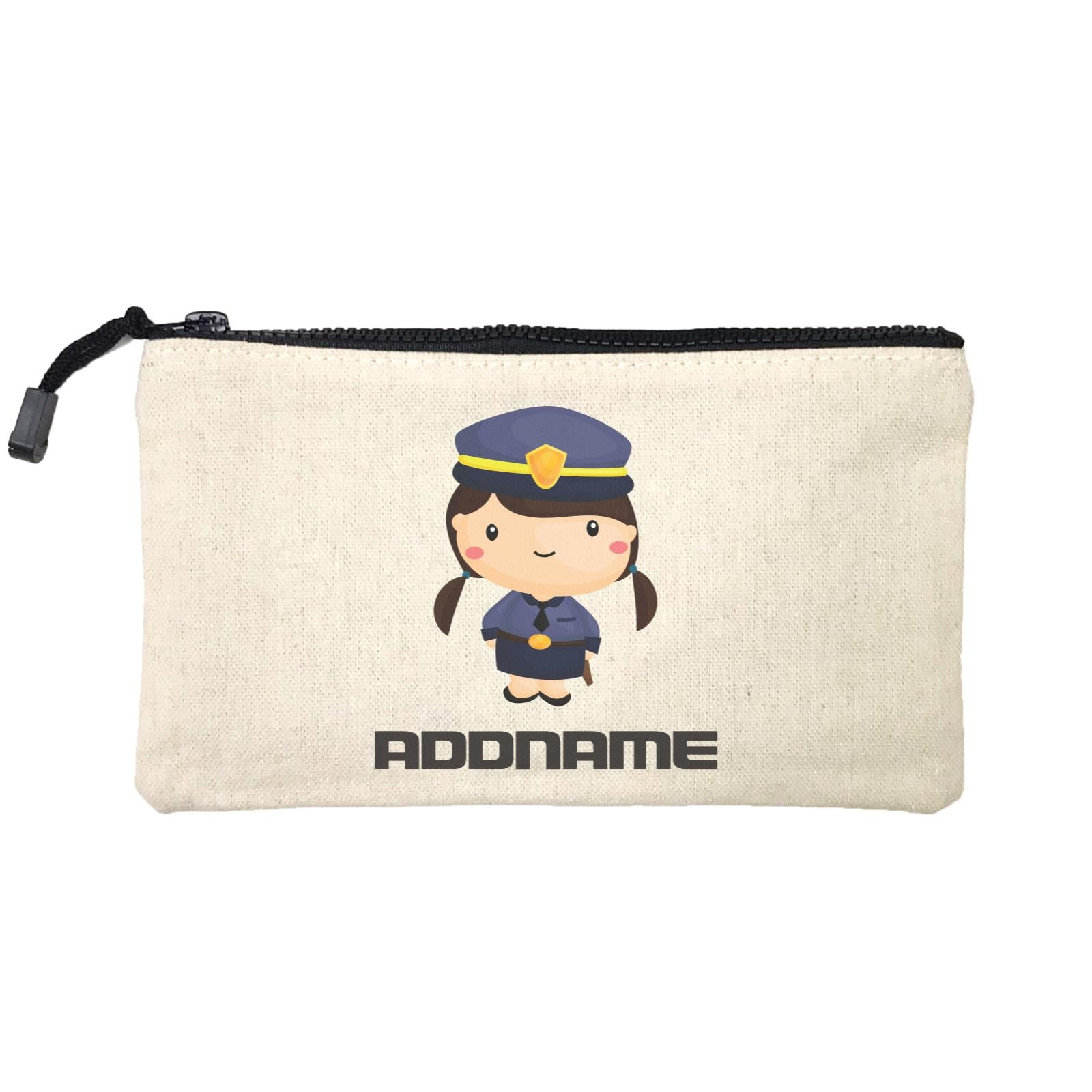 Birthday Police Officer Long Twin Pony Tails Girl In Suit Addname Mini Accessories Stationery Pouch