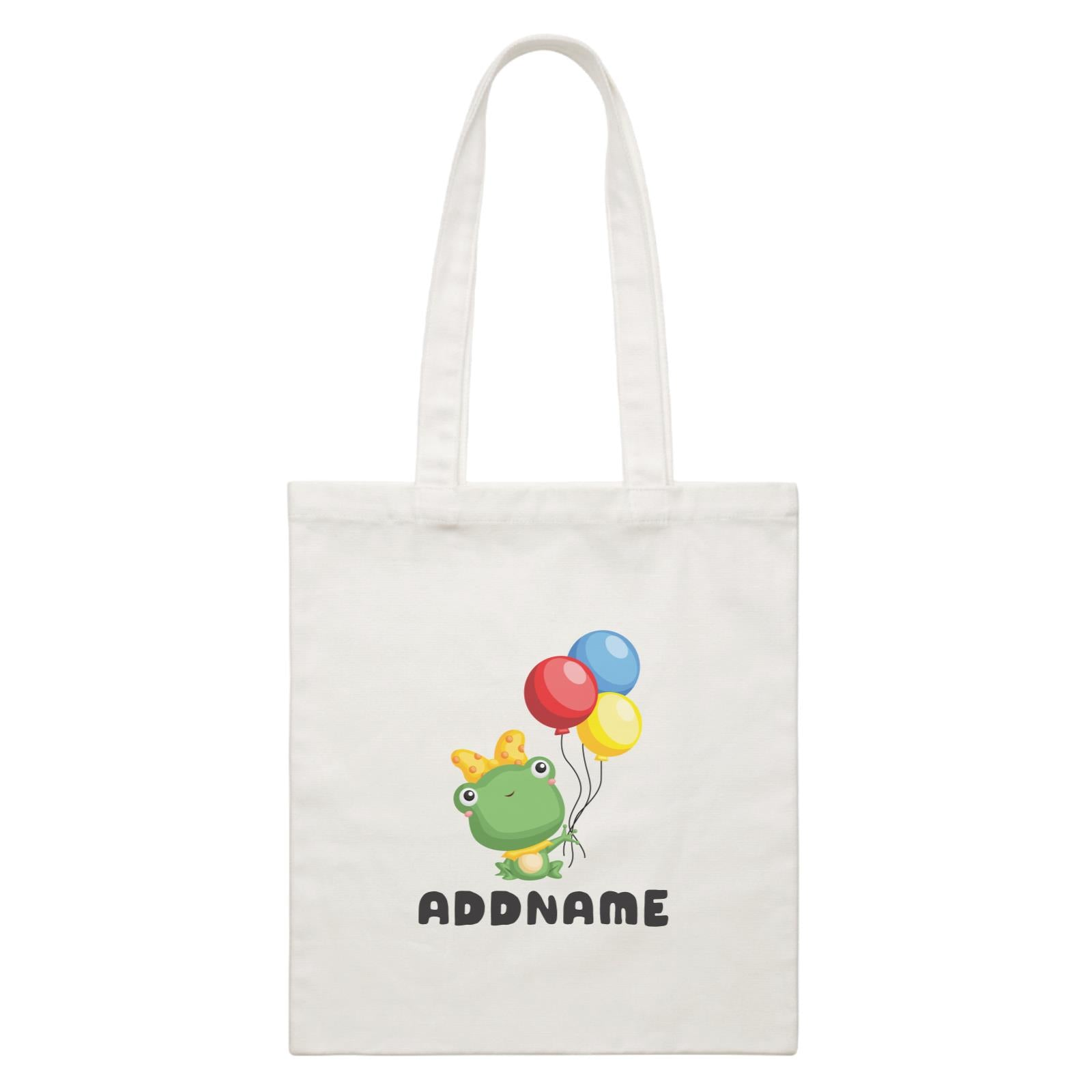 Birthday Frog Frog Girl Holding Balloons Addname White Canvas Bag