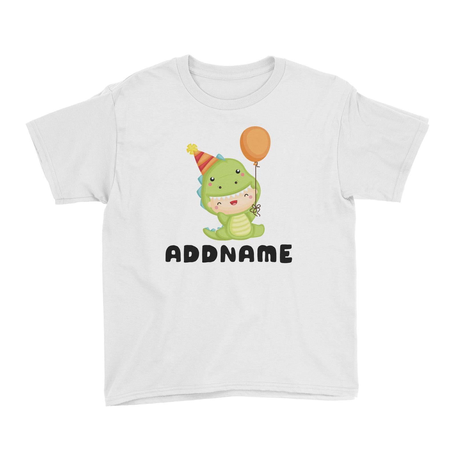 Birthday Dinosaur Happy Baby Wearing Dinosaur Suit And Party Hat Addname Kid's T-Shirt