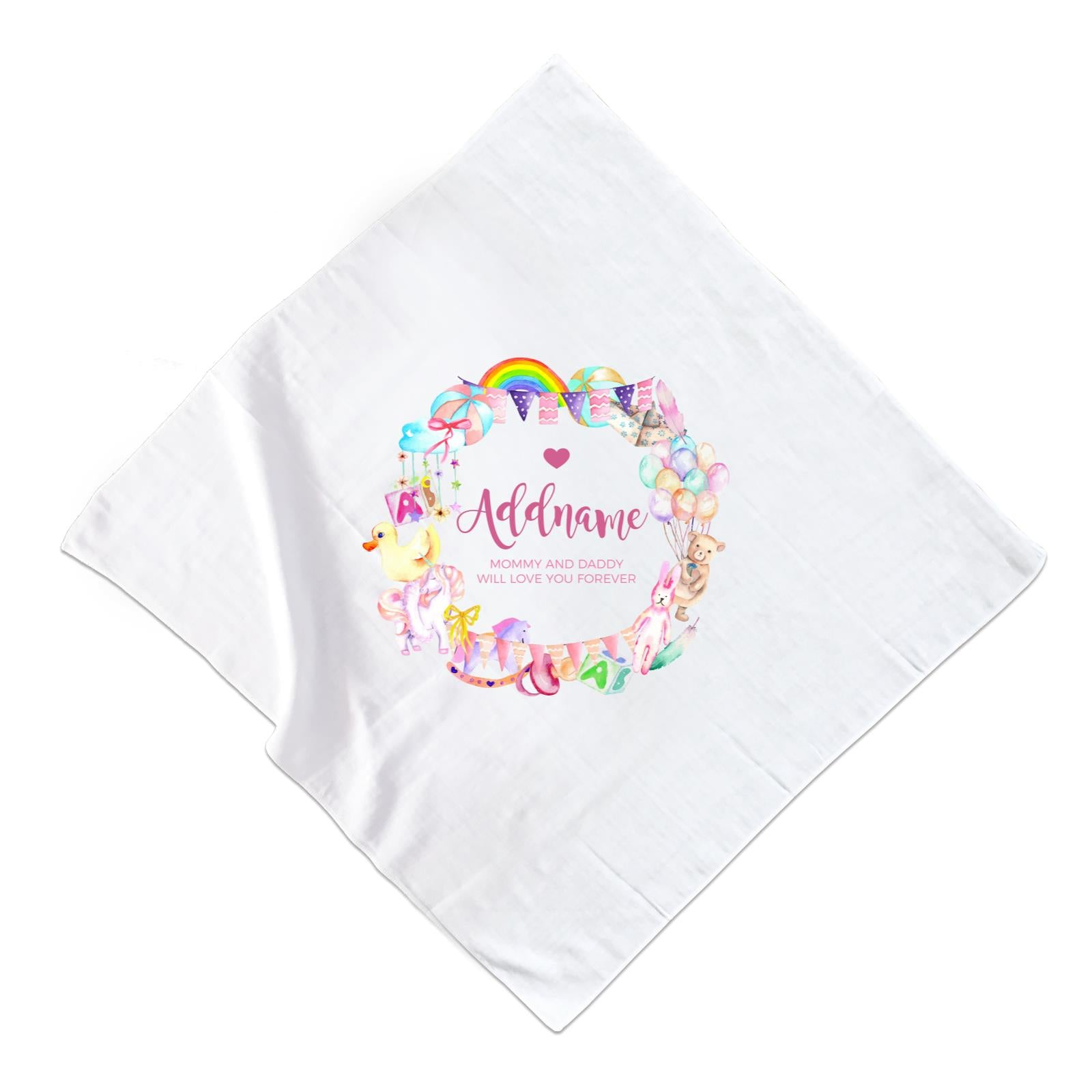 Watercolour Magical Girlish Creatures and Elements Personalizable with Name and Text Muslin Square