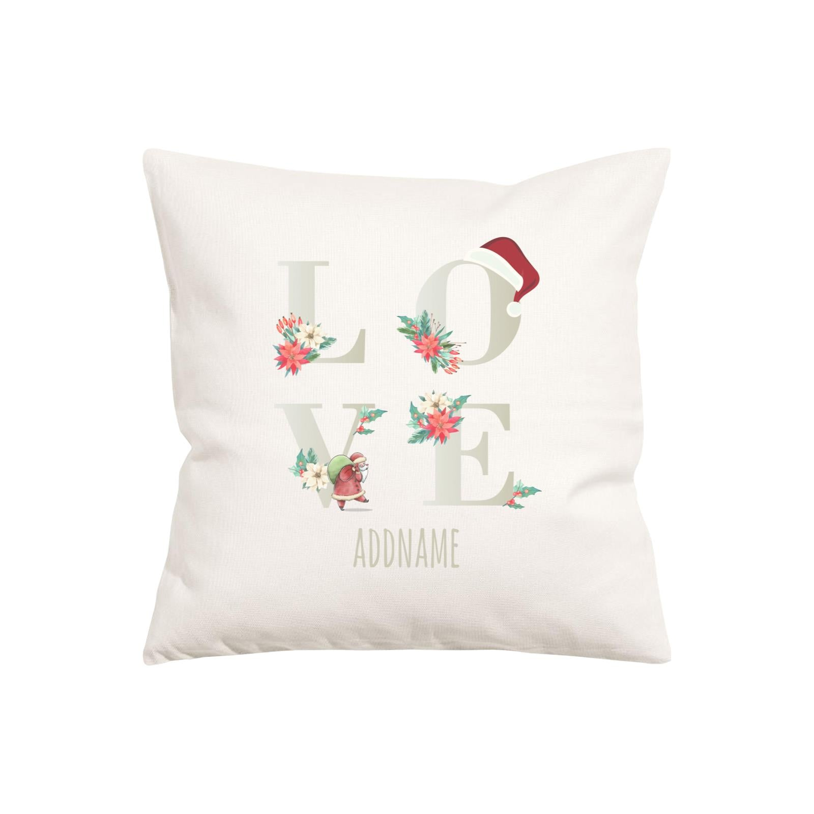 Xmas Floral LOVE Pillow Pillow Cushion