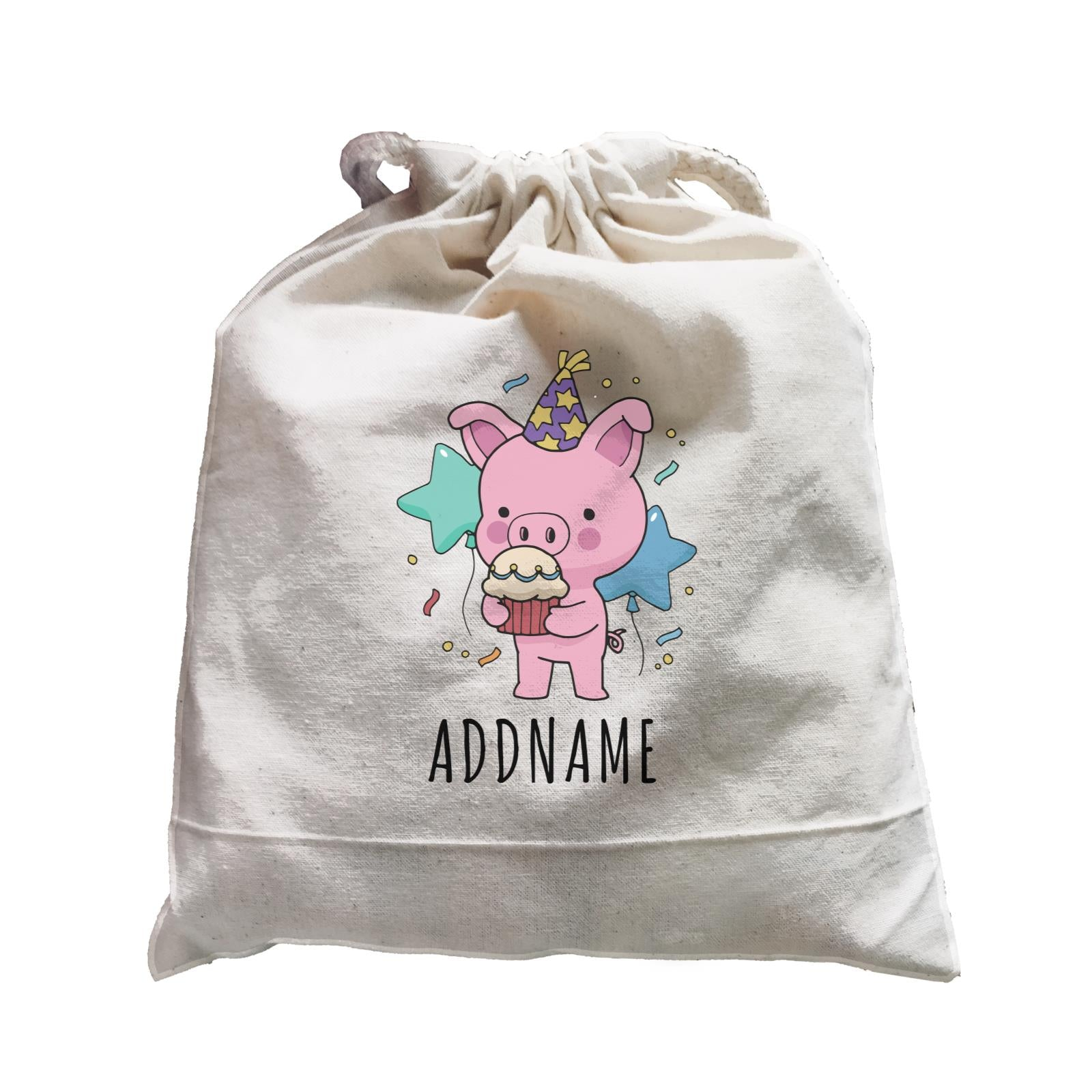 Birthday Sketch Animals Pig with Party Hat Eating Cupcake Addname Satchel