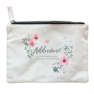 Watercolour Pink Flowers and Dark Wreath Personalizable with Name and Text Zipper Pouch