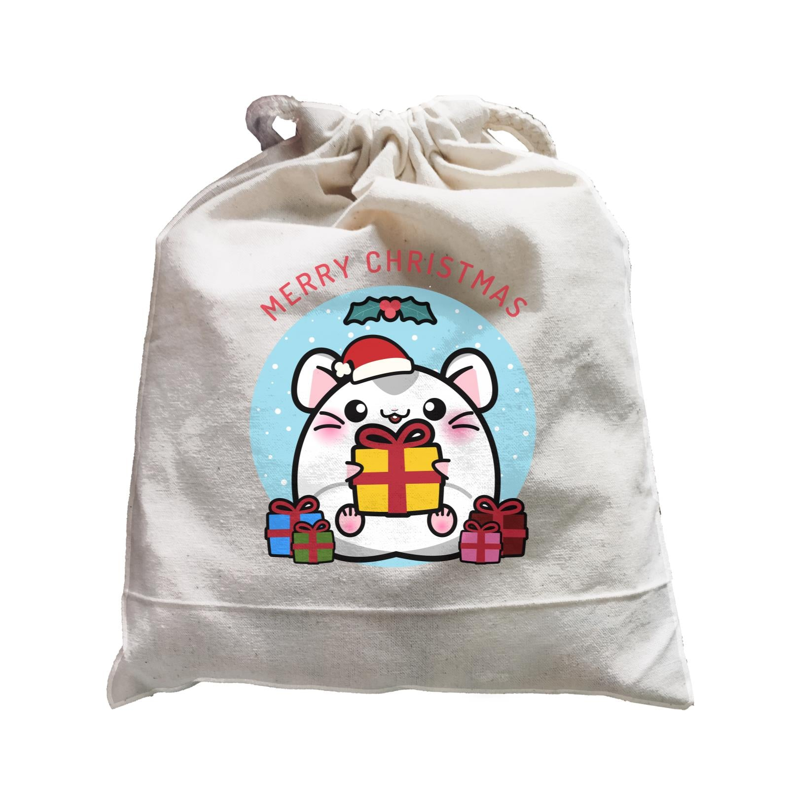 Merry Christmas Cute Santa Santa Boy Hamster with Gifts Satchel