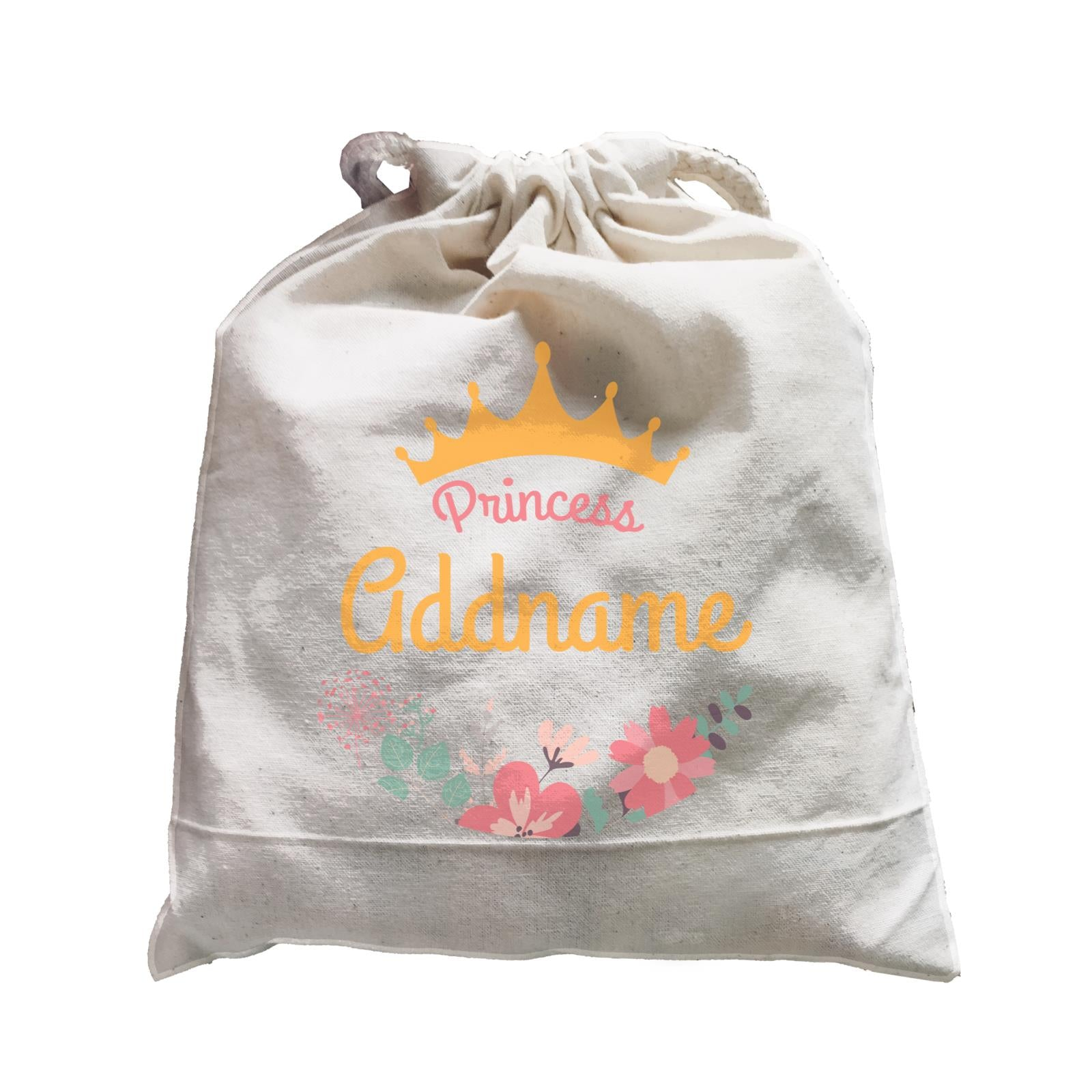Princess Addname with Tiara and Flowers 2 Satchel