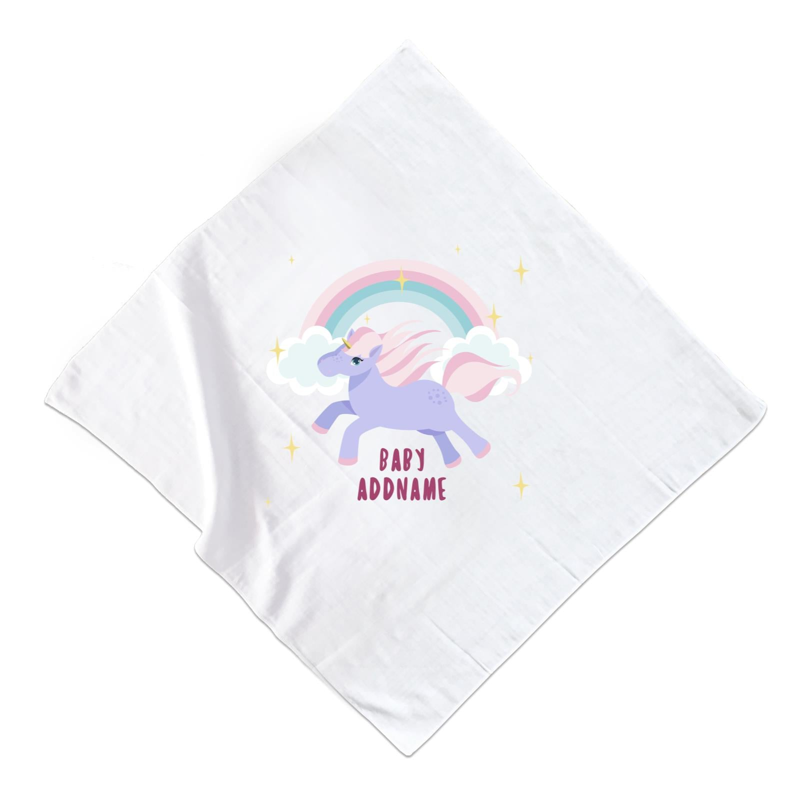 Purple Unicorn Galloping with Rainbow and Baby Addname Muslin Square
