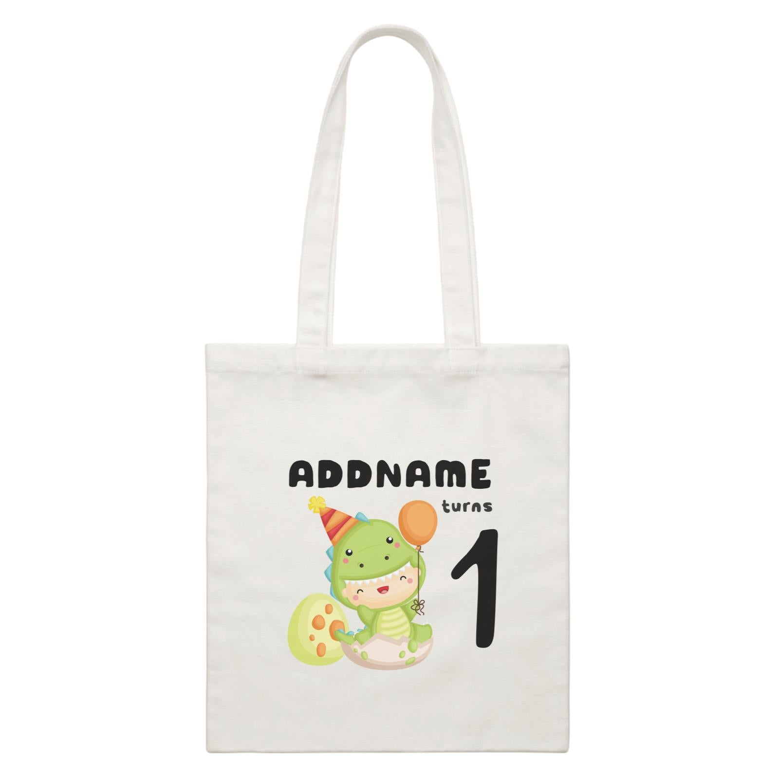 Birthday Dinosaur Happy Baby Wearing Dinosaur Suit Addname Turns 1 White Canvas Bag
