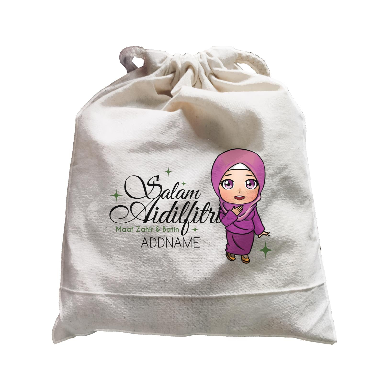 Raya Chibi Wishes Woman Addname Wishes Everyone Salam Aidilfitri Maaf Zahir & Batin Accessories Satchel