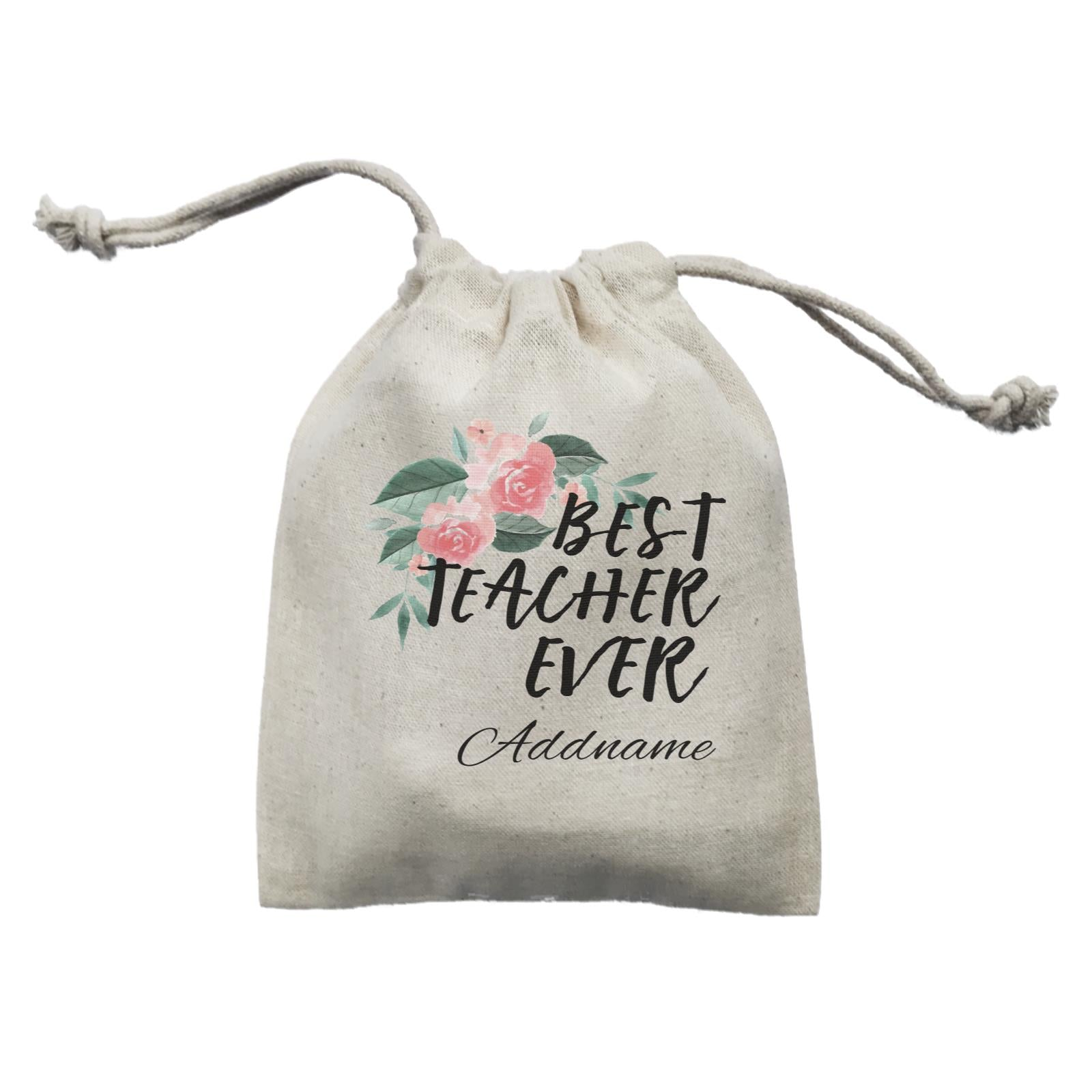 Great Teachers Watercolour Flowers Best Teacher Ever Addname Mini Accessories Mini Pouch