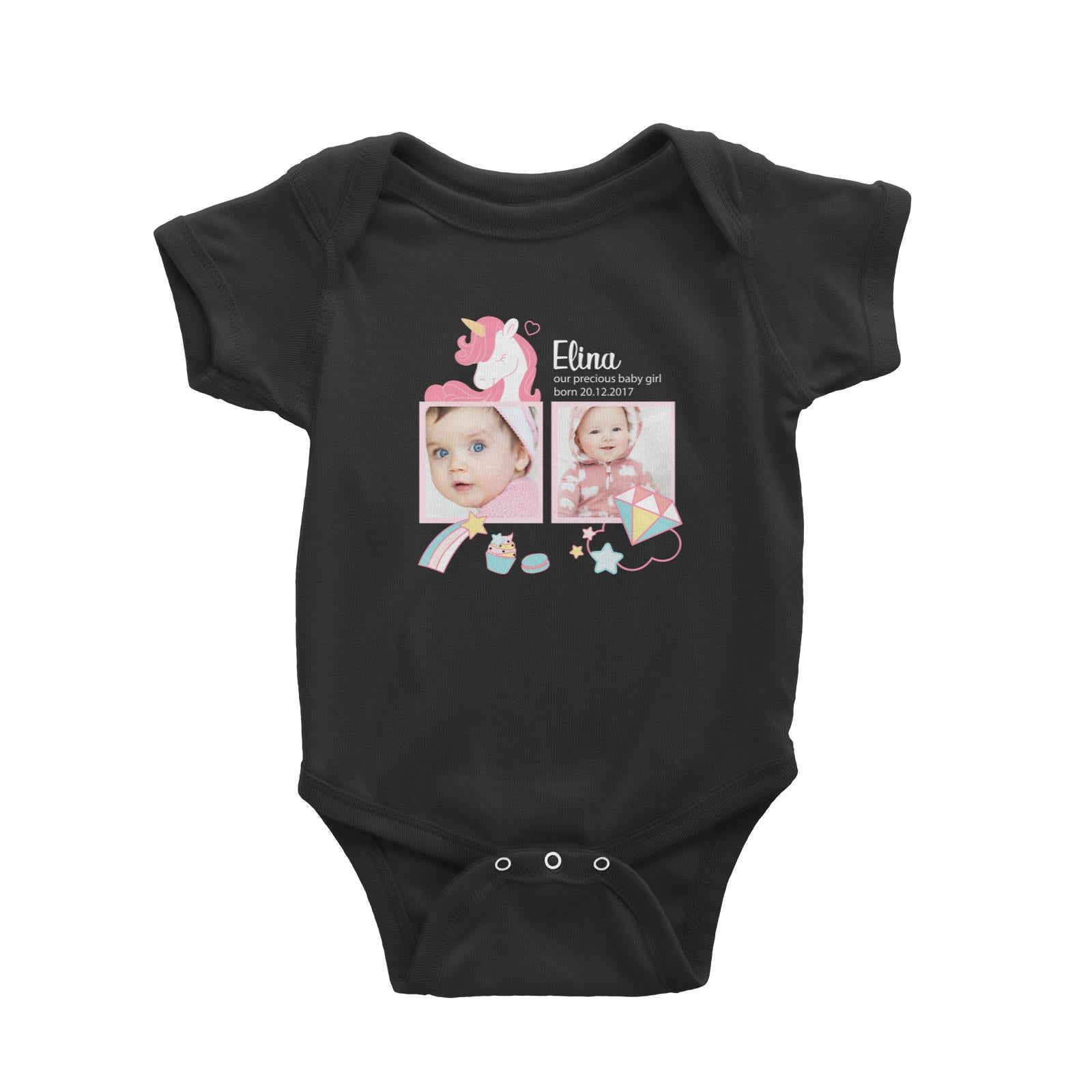 Photo Gift Series Sweet Unicorn Baby Girl Baby Romper