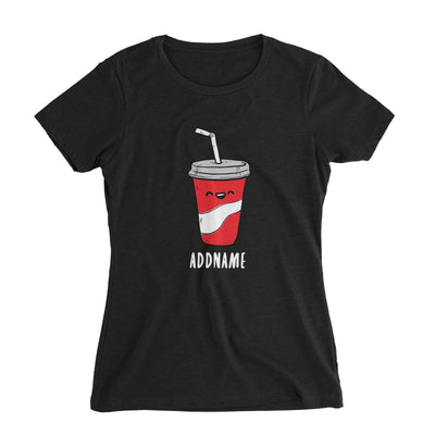 Fast Food Coke Addname Women's Slim Fit T-Shirt  Comic Cartoon Matching Family Personalizable Designs