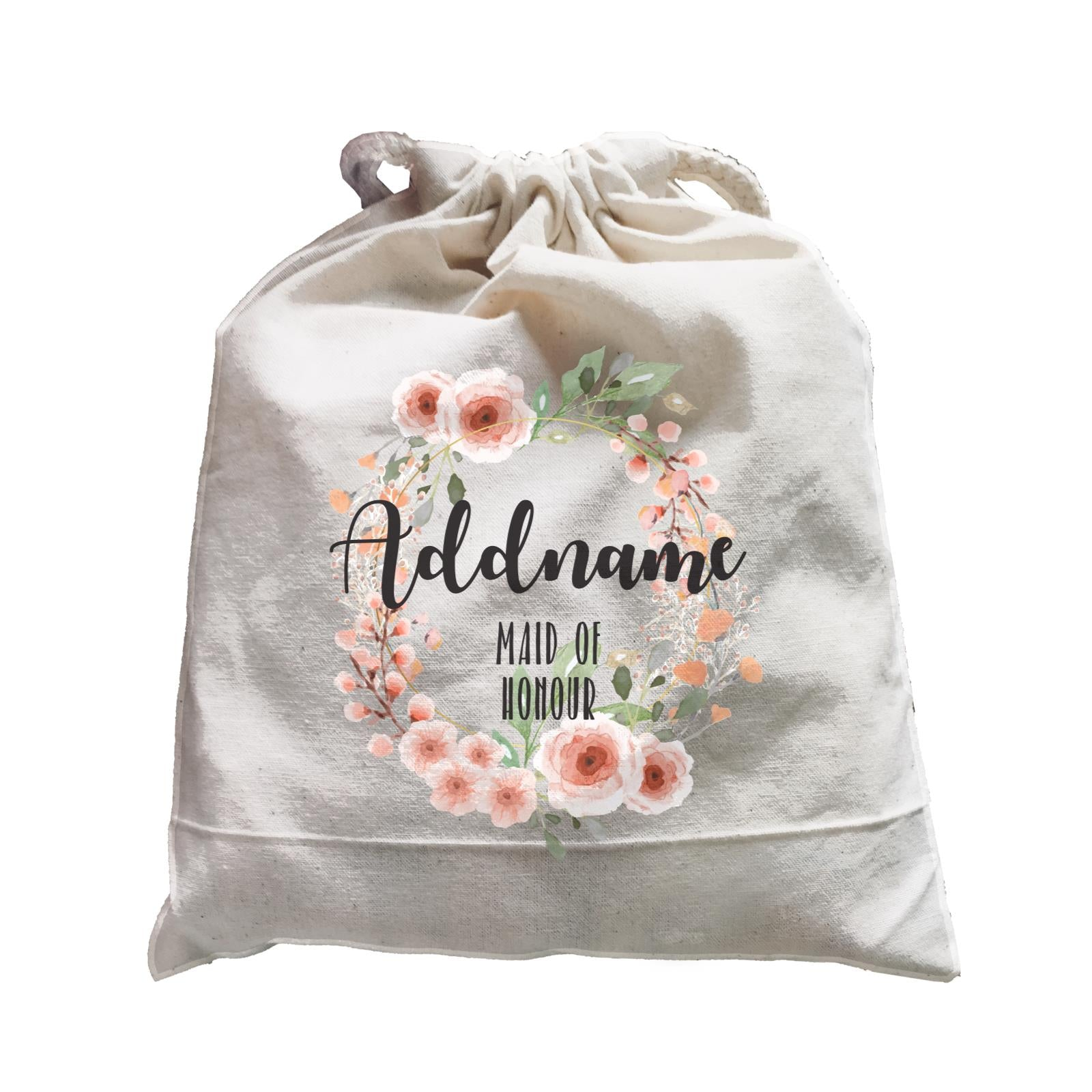 Bridesmaid Floral Sweet 2 Watercolour Flower Wreath Maid Of Honour Addname Satchel