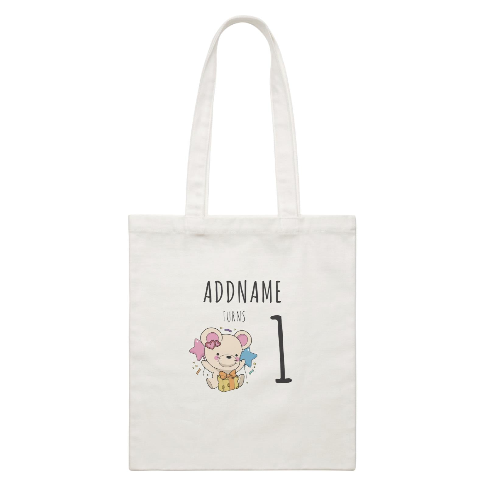 Birthday Sketch Animals Mouse with Cheese Present Addname Turns 1 White Canvas Bag