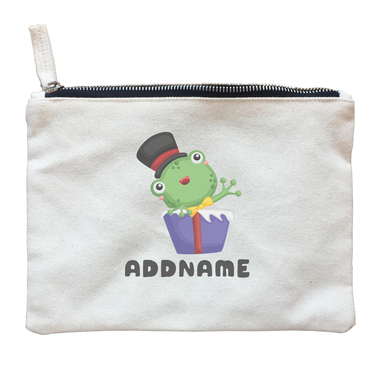 Birthday Frog Frog Wearing Hat Inside Present Box Addname Zipper Pouch