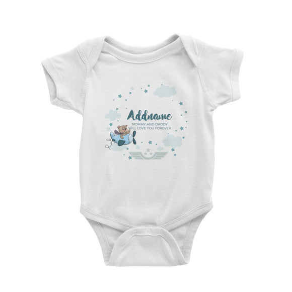 Cute Bear Pilot in Blue Plane Clouds and Stars Element Personalizable with Name and Text Baby Romper