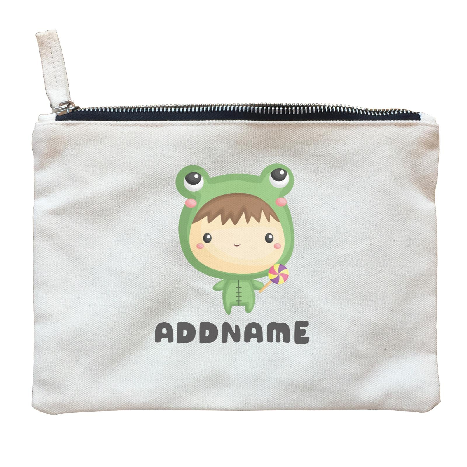 Birthday Frog Baby Boy Wearing Frog Suit Holding Lolipop Addname Zipper Pouch