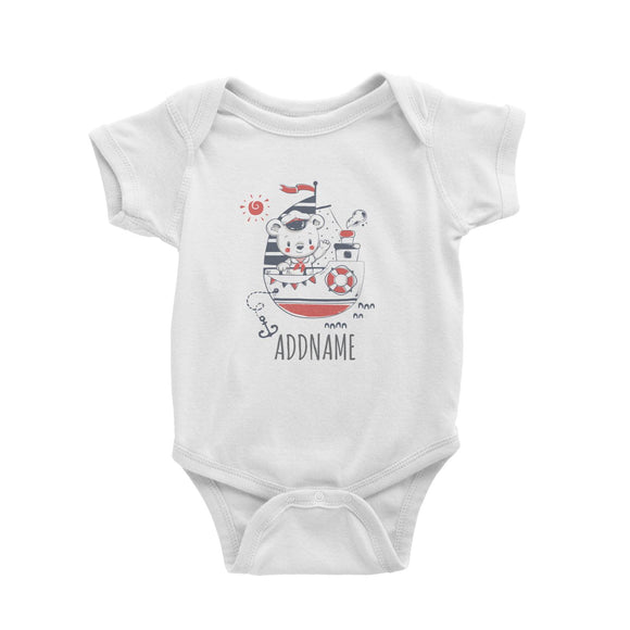Sailor Boy on Boat White Baby Romper Personalizable Designs Cute Sweet Animal Bear For Boys HG