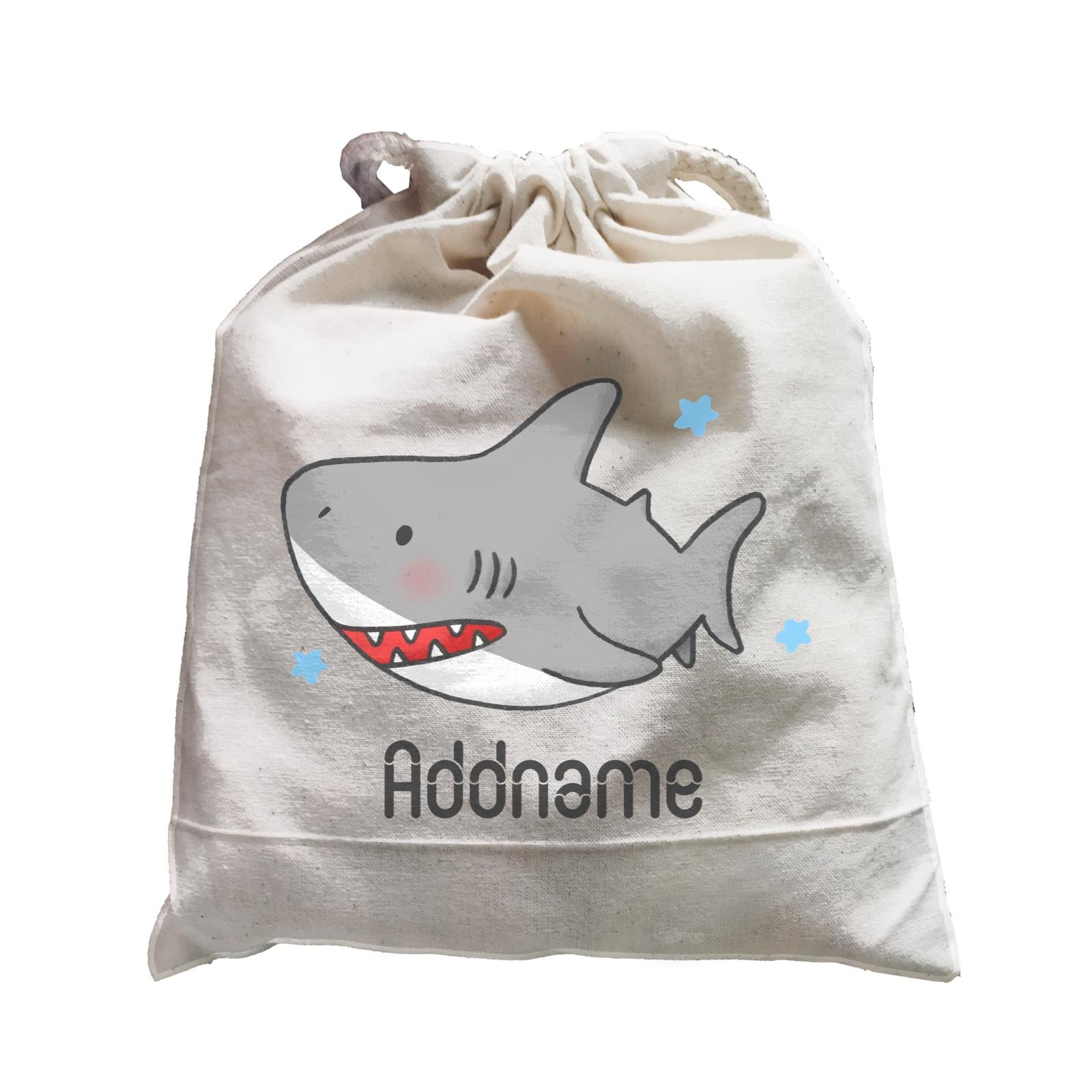 Cute Hand Drawn Style Shark Addname Satchel