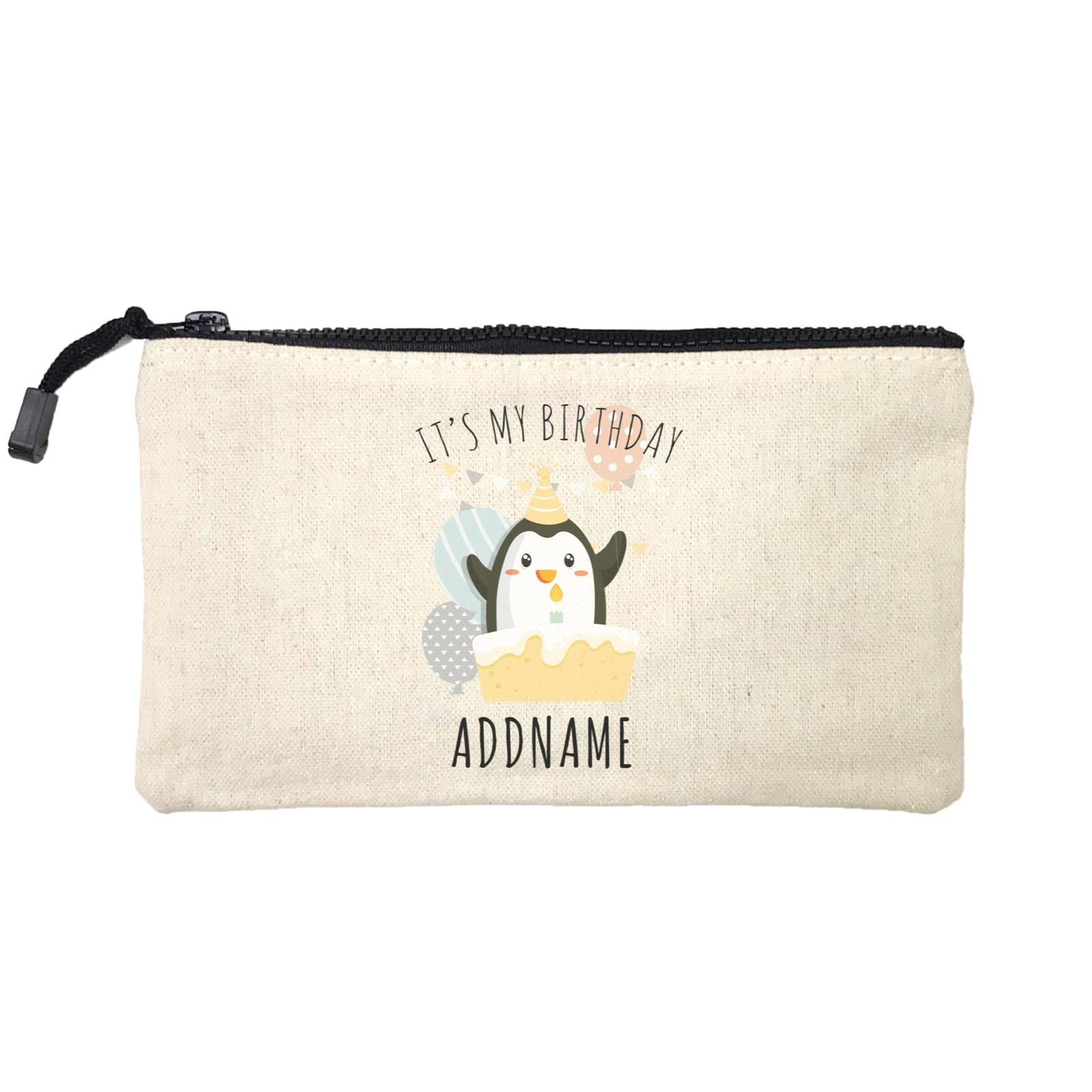 Birthday Cute Penguin And Cake It's My Birthday Addname Mini Accessories Stationery Pouch