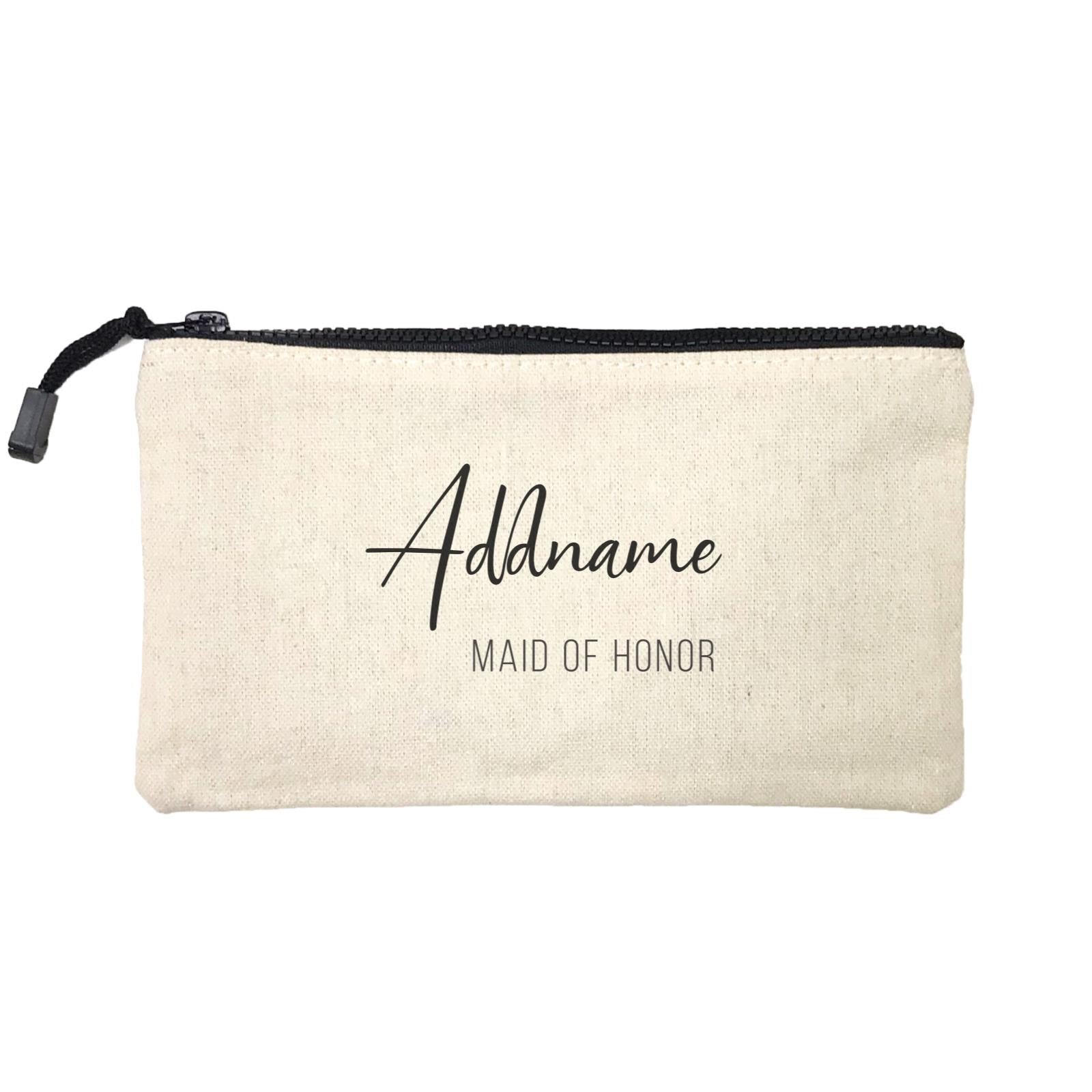 Bridesmaid Calligraphy Addname Modern Maid Of Honour Mini Accessories Stationery Pouch