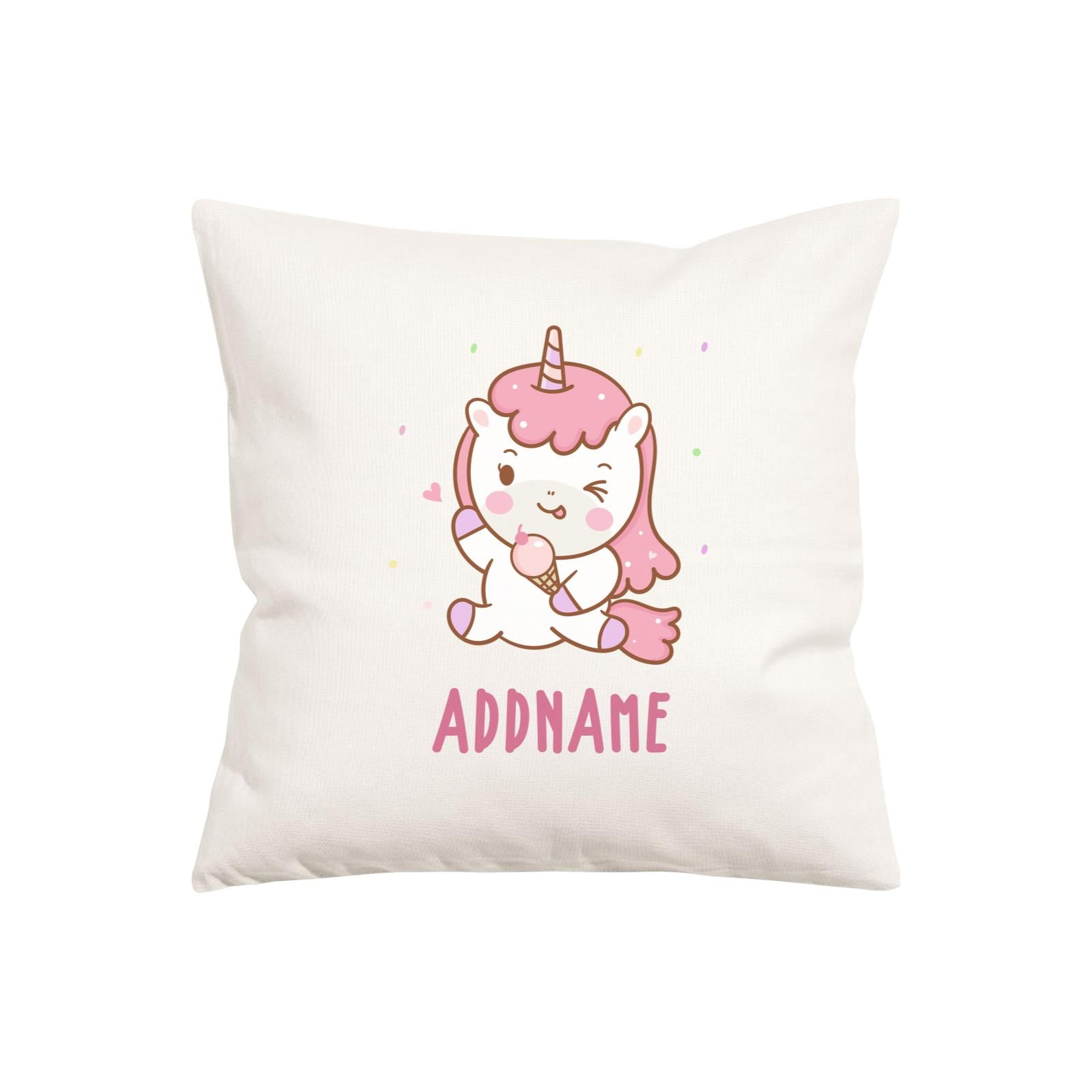 Unicorn And Princess Series Unicorn Happy Eating Ice Cream Addname Pillow Cushion