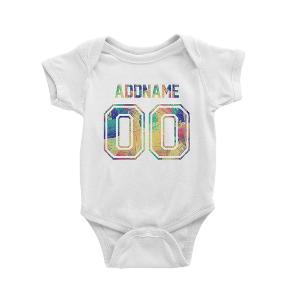 Custom Jersey Colourful Nature Pattern With Name and Number Baby Romper