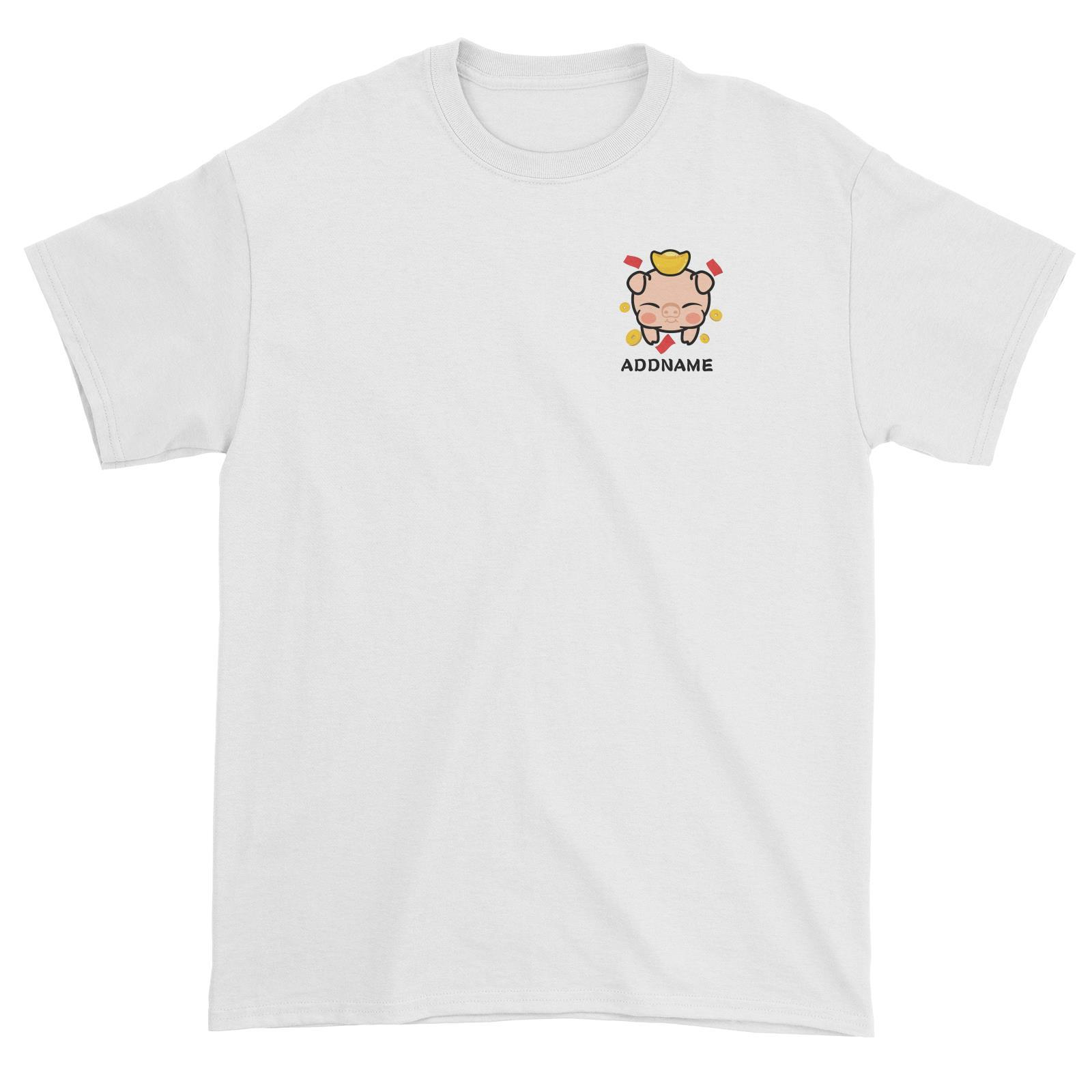 Prosperity Pig Baby Head with Gold Pocket Design Unisex T-Shirt
