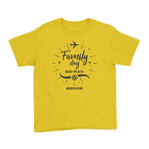 Family Day Flight Plane Icon Family Day Addname And Add Place Kid T-Shirt