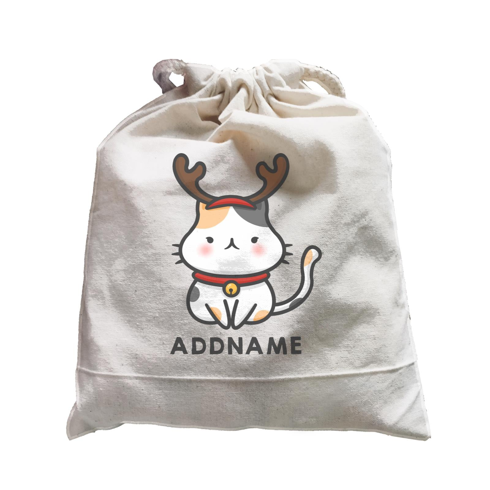 Xmas Cute Cat With Reindeer Antlers Addname Accessories Satchel