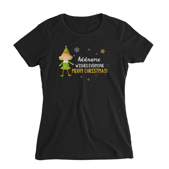 Cute Elf Woman Wishes Everyone Merry Christmas Addname Women's Slim Fit T-Shirt  Matching Family Personalizable Designs