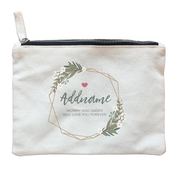 White Flowers and Geometric Frame Wreath Personalizable with Name and Text Zipper Pouch