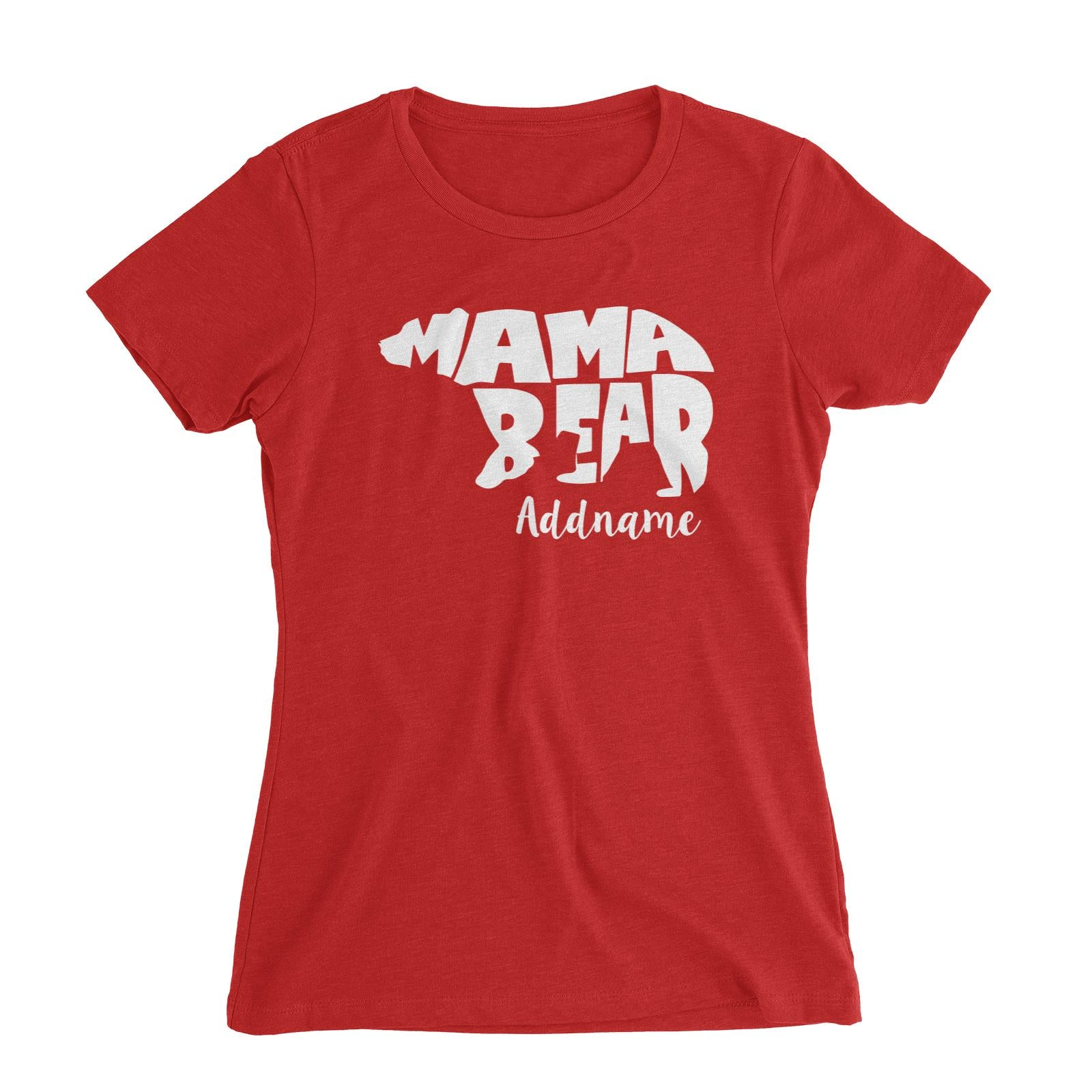 Mama Bear Silhoutte Addname Women's Slim Fit T-Shirt  Matching Family Personalizable Designs