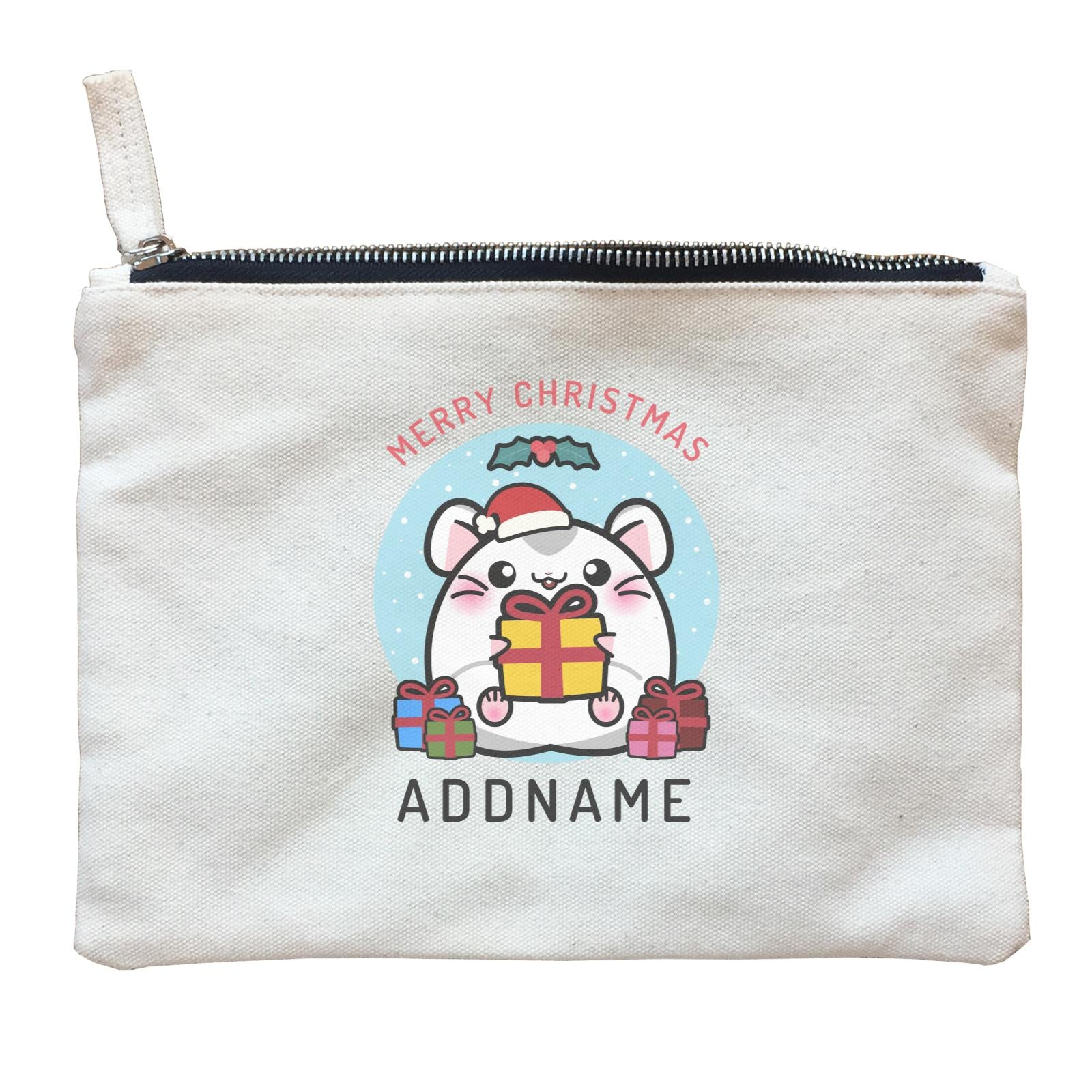 Merry Christmas Cute Santa Boy Hamster with Gifts Zipper Pouch