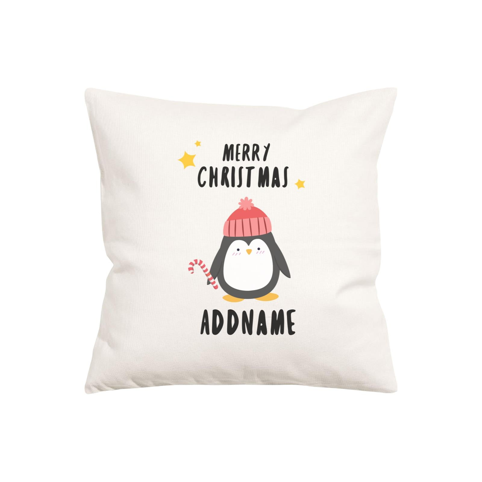 Xmas Cute Penguin with Candy Cane Merry Christmas Pillow Pillow Cushion