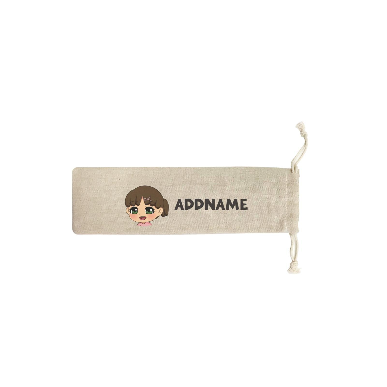 Children's Day Gift Series Little Girl Facing Right Addname SB Straw Pouch (No Straws included)