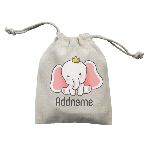 Cute Hand Drawn Style Baby Elephant with Crown Addname Mini Accessories Mini Pouch