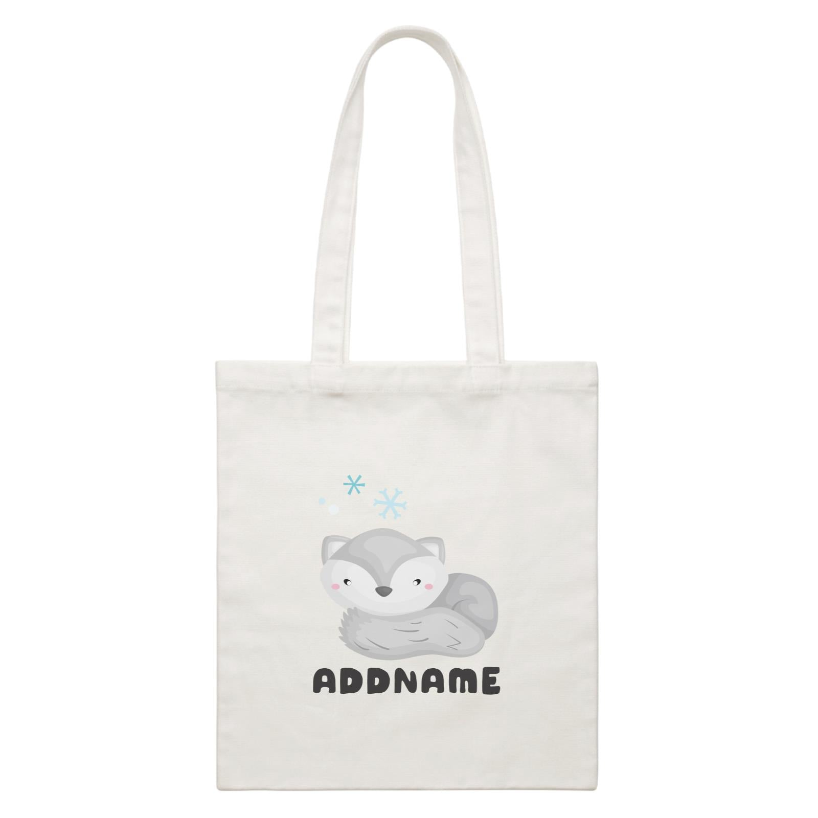 Birthday Winter Animals Lazy Snow Fox Addname White Canvas Bag