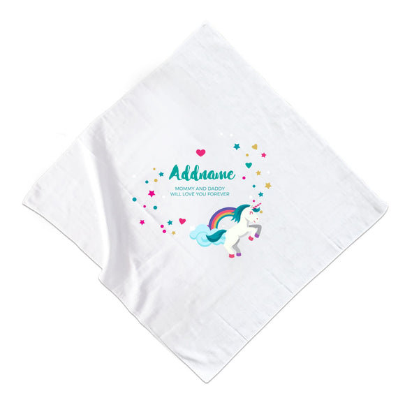 Blue Unicorn with Colourful Love and Start Elements Personalizable with Name and Text Muslin Square