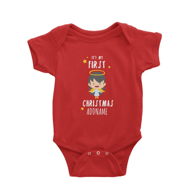 Cute Girl Angel First Christmas Addname Baby Romper  Personalizable Designs