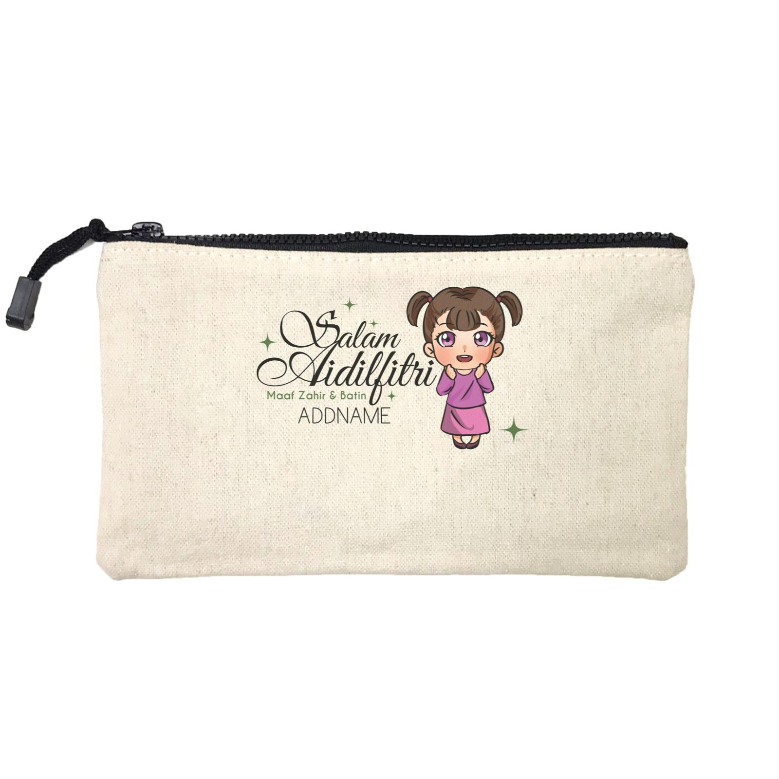Raya Chibi Wishes Little Girl Addname Wishes Everyone Salam Aidilfitri Maaf Zahir & Batin Mini Accessories Stationery Pouch