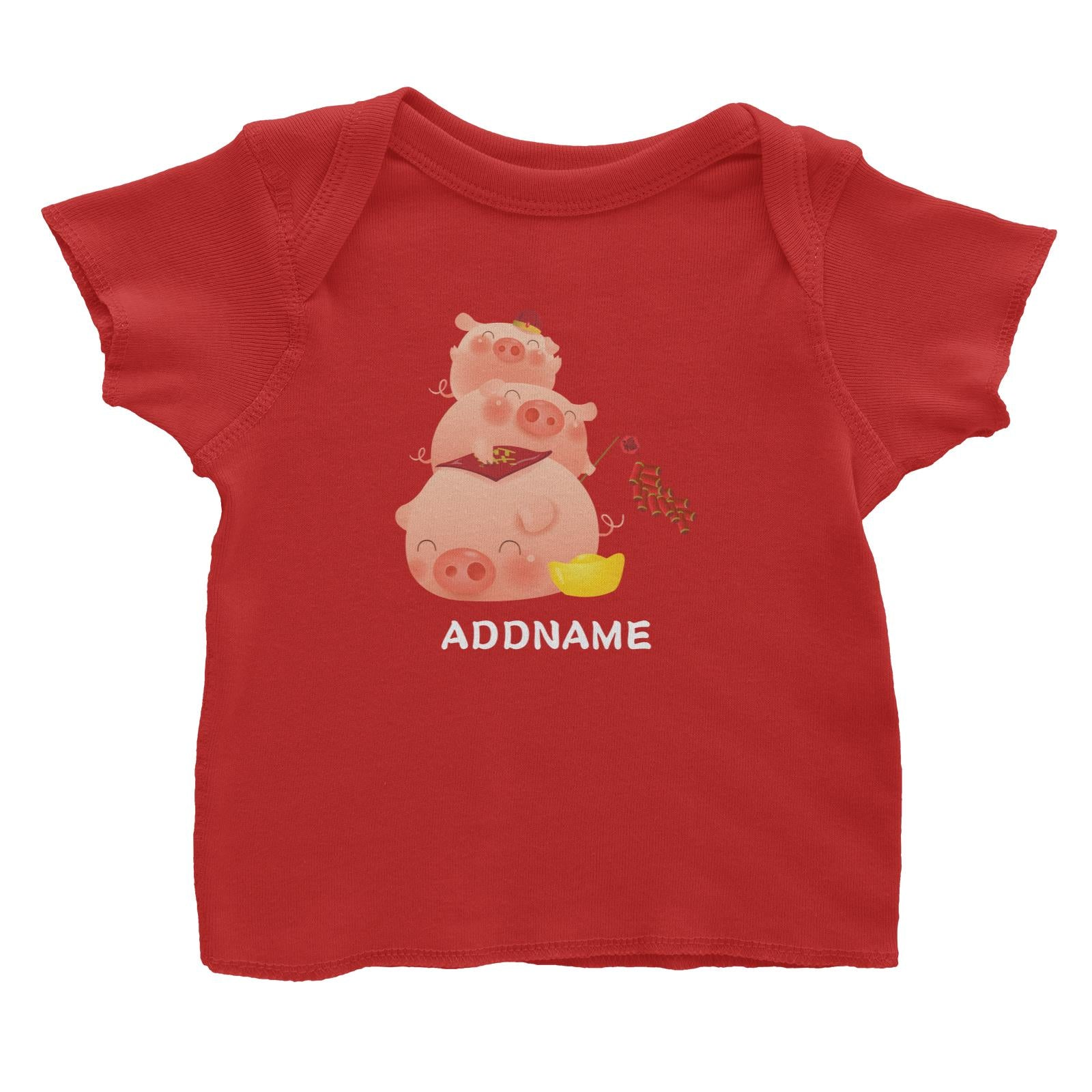 Chinese New Year Pig Group With Gold and Fireworks Addname Baby T-Shirt