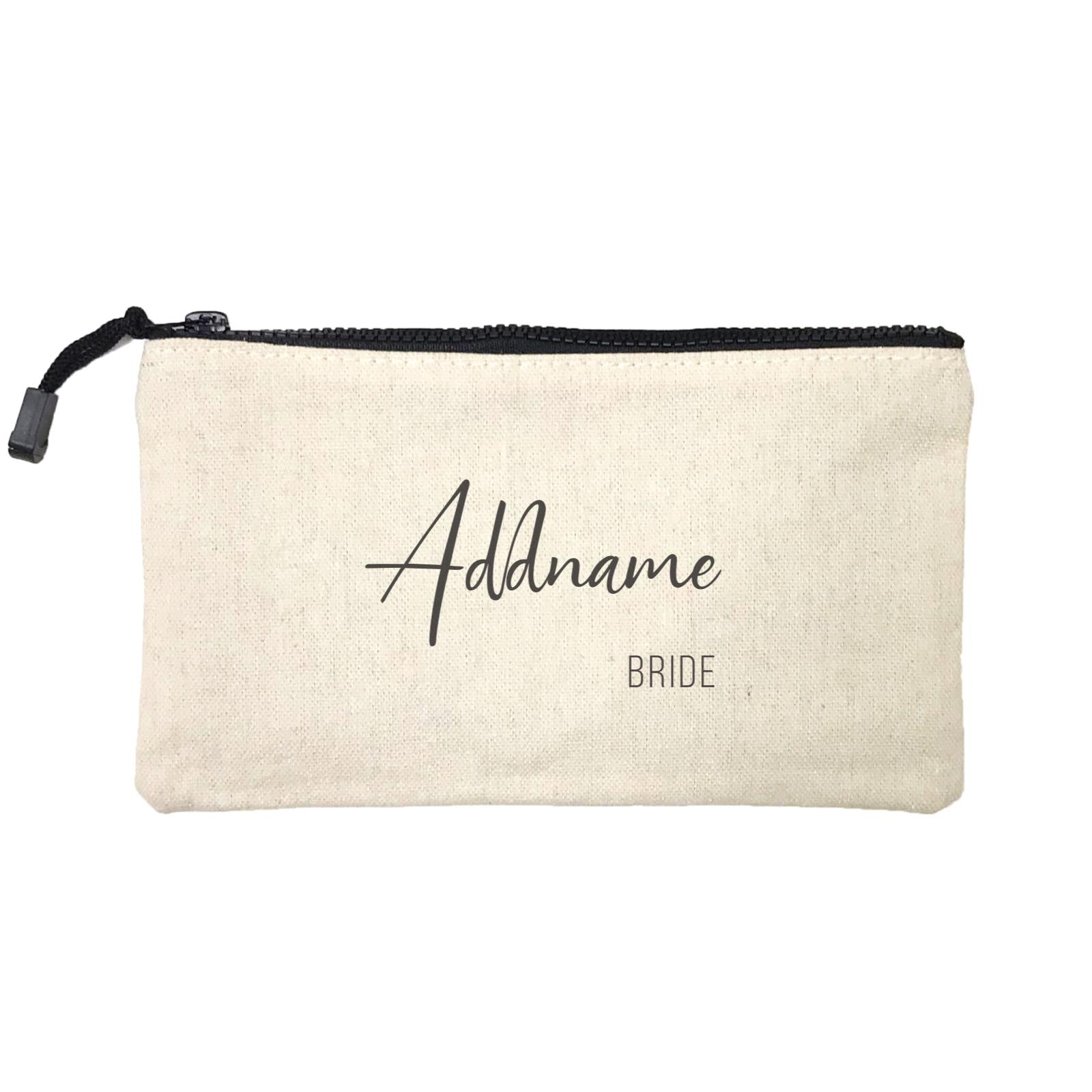 Bridesmaid Calligraphy Addname Modern Bride Mini Accessories Stationery Pouch