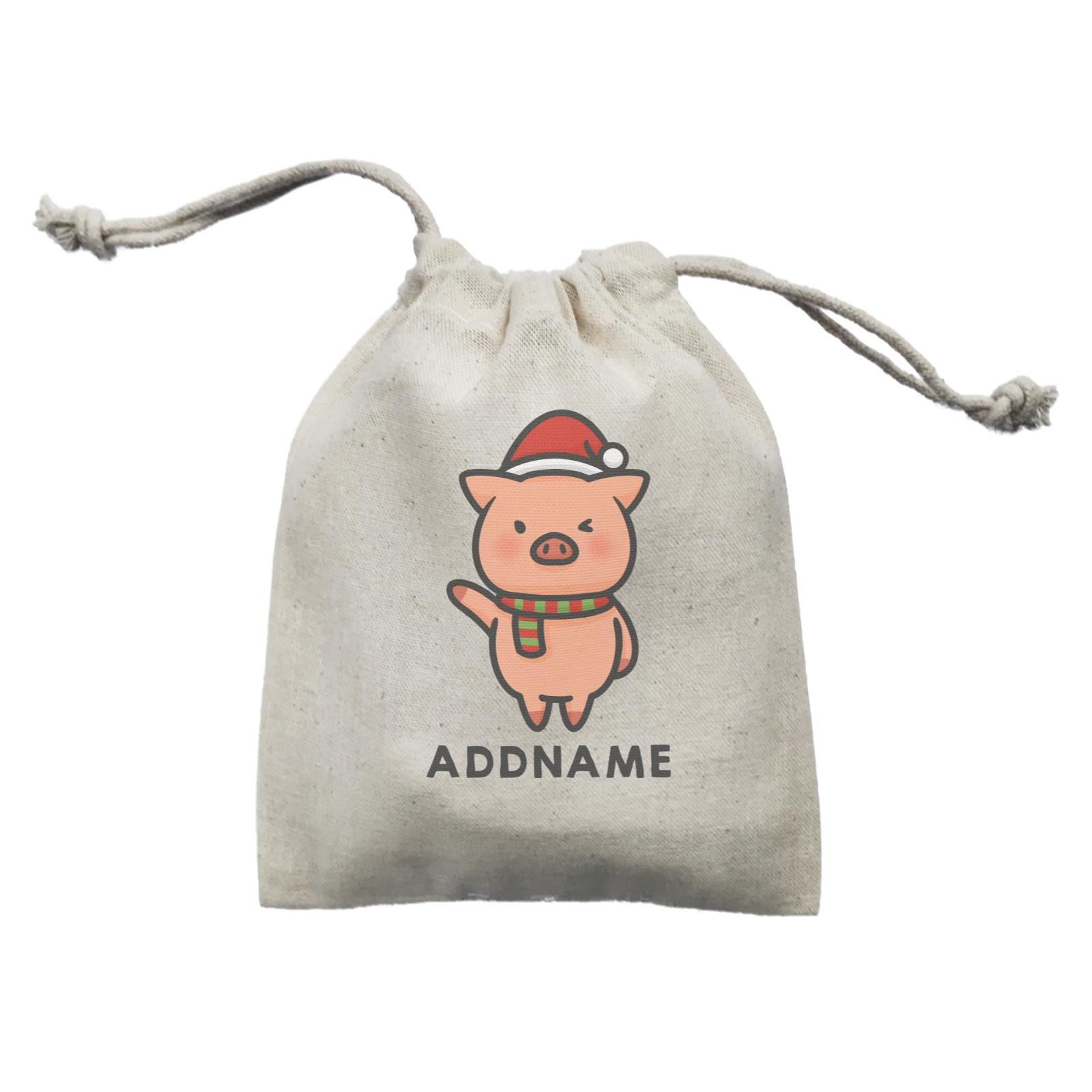 Xmas Cute Pig Christmas Hat Addname Mini Accessories Mini Pouch